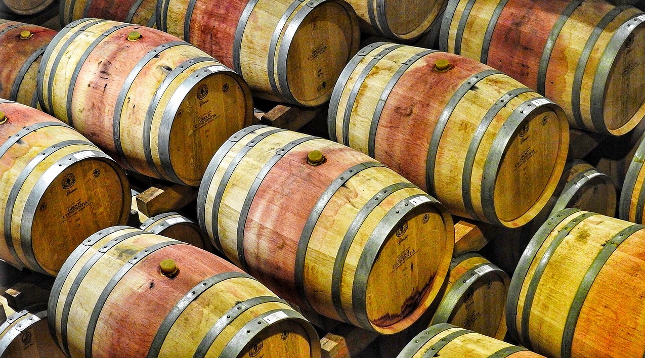 Wine barrels in Chilean winemaking